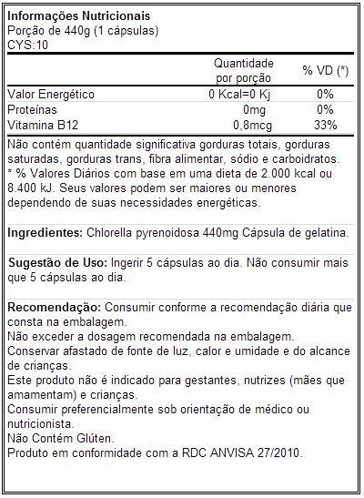 CYS10 - Tabela Nutricional
