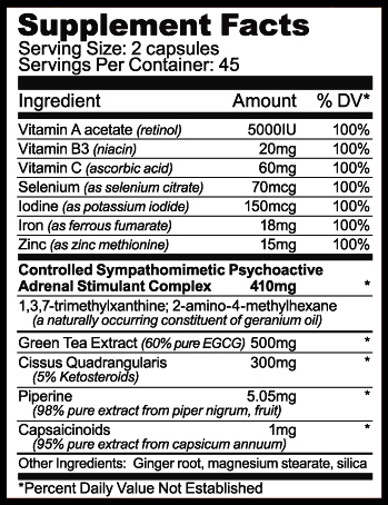 Fat Smack XR - Tabela Nutricional