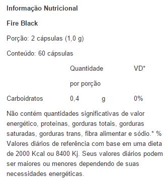 Fire Black - Tabela Nutricional