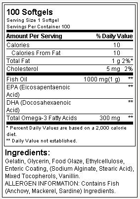 Óleo de Peixe - Omega 3 - Optimum Nutrition - Tabela Nutricional