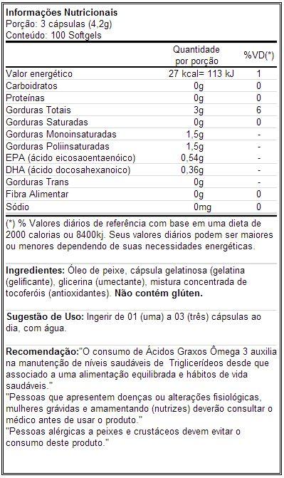 Fish Oil - Universal - Tabela Nutricional