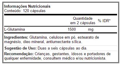 Glutamina Fuel 500g - Tabela Nutricional