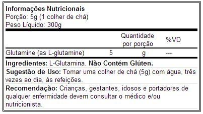 Glutamina - Universal - Tabela Nutricional