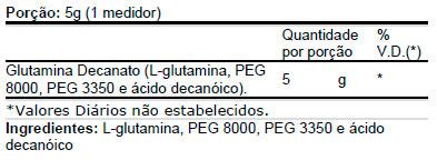Glutamine Decanate (300g) - MuscleMeds - Tabela Nutricional