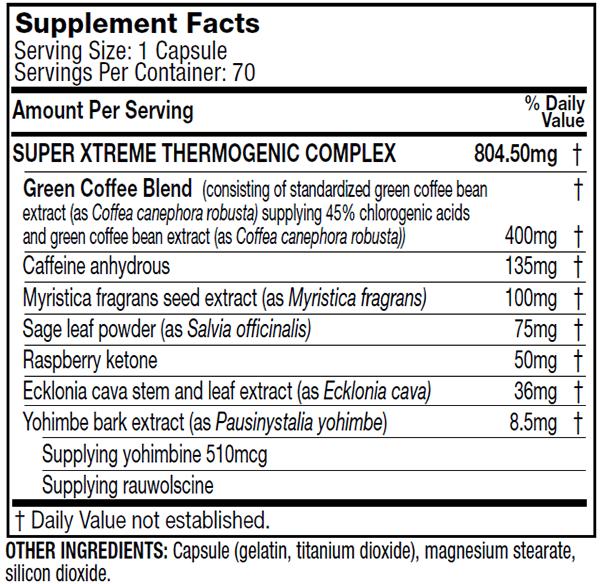 Hydroxycut SX7 - Tabela Nutricional