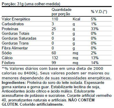 IsoWhey Fuel - Tabela Nutricional