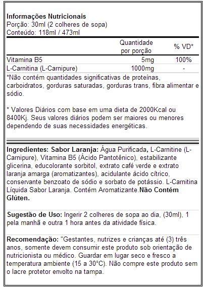 L-Carnitina Líquida 1000mg - Arnold Nutrition - Tabela Nutricional