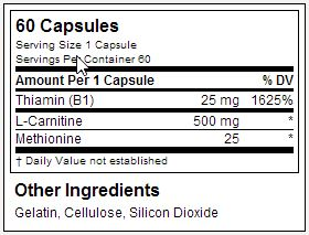 L-Carnitina Xtreme Dymatize - Tabela Nutricional