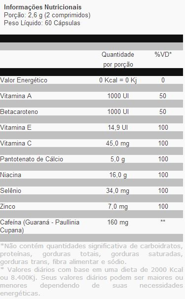 Lipo 100 Hers - Tabela Nutricional