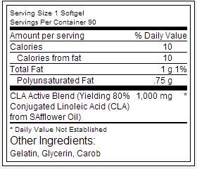 Lipo 6 CLA - Tabela Nutricional