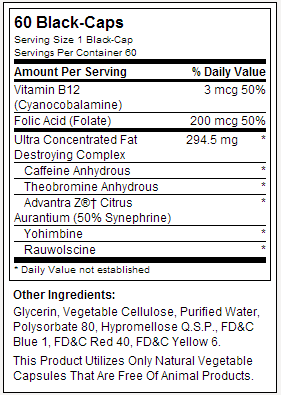 Lipo 6 Black Hers - Tabela Nutricional