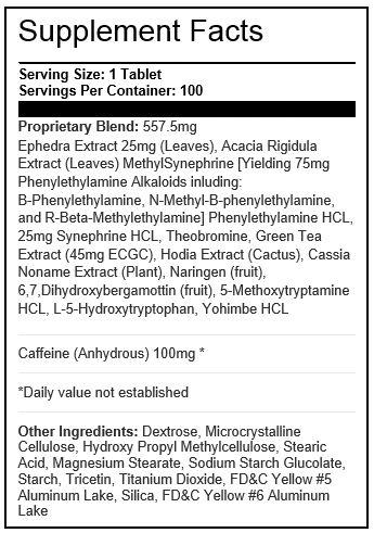 Lipodrene Tabela Nutricional