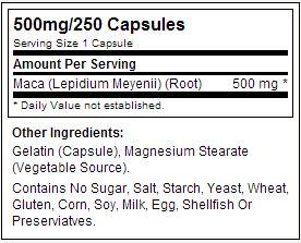 Maca Peruana - Now Foods - Tabela Nutricional
