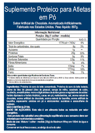 Maximum Whey - Tabela Nutricional