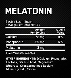 Melatonina 3mg - Optimum Nutrition - Tabela Nutricional