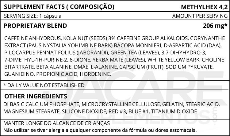 METHYLHEX 4,2 - Sei Pharma - Tabela Nutricional