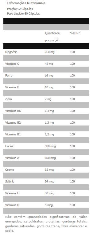 Multimax Femme - Tabela Nutricional