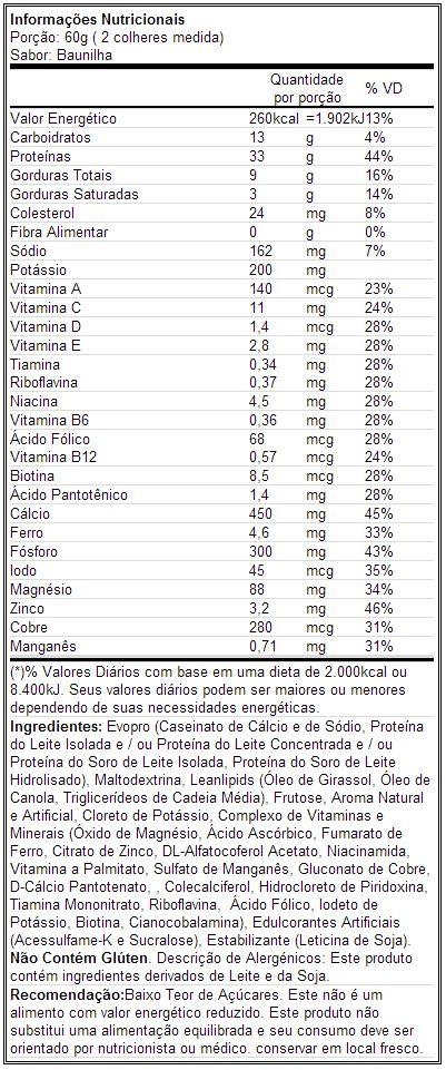 Muscle Milk - Tabela Nutricional - Baunilha