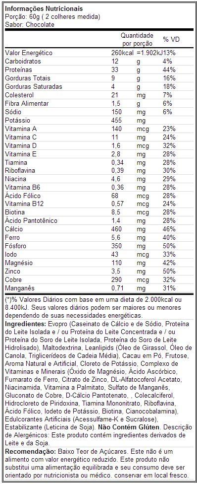 Muscle Milk - Tabela Nutricional - Chocolate