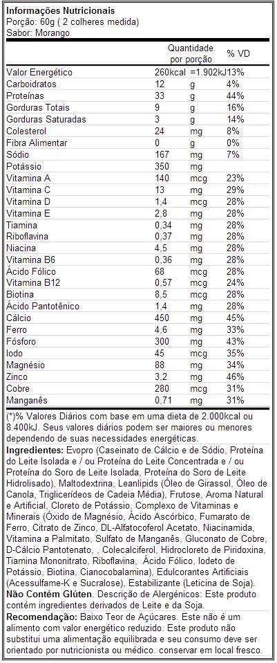 Muscle Milk - Tabela Nutricional - Morango