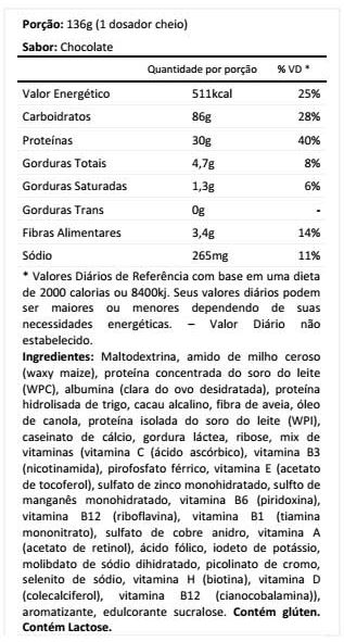 Tabela Nutricional MXT GAINERS