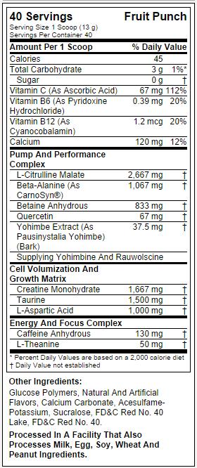 Nano Vapor - Tabela Nutricional