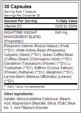 Nite-Burn - BPI Sports - Tabela Nutricional