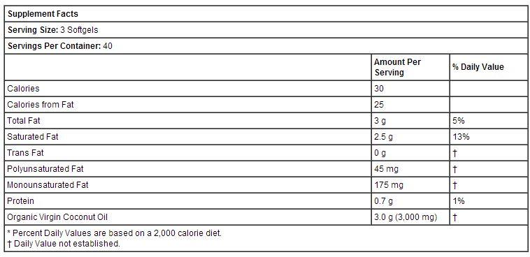 Óleo de Coco - Now Foods - Tabela Nutricional