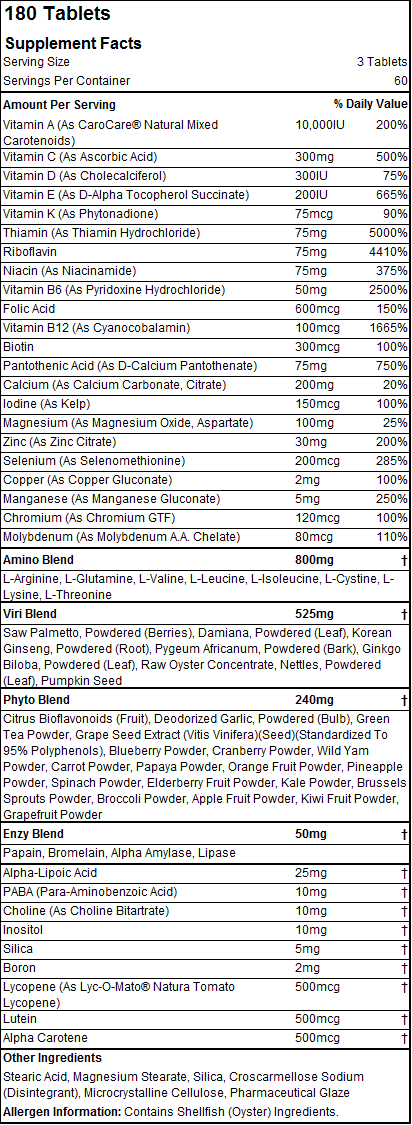 Opti-Men - Tabela Nutricional