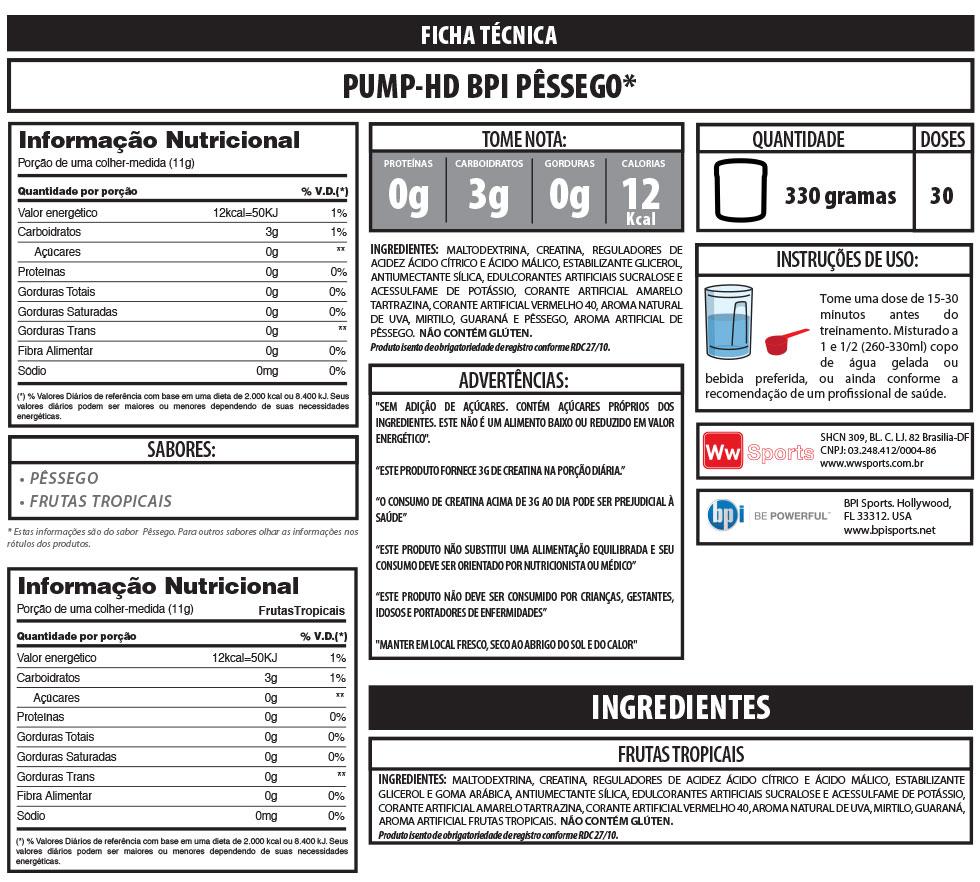 Pump-HD BPI Sports - Tabela Nutricional