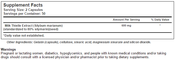 Silimarina 600mg - Tabela Nutricional