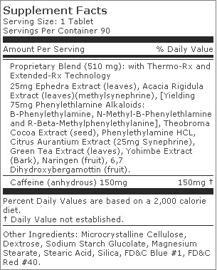 Stimerex - Tabela Nutricional