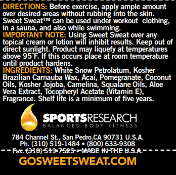 Sweet Sweat - Tabela Nutricional