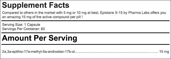 Epistane X15 - Tabela Nutricional
