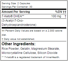 Tabela Nutricional - 7-keto 50mg Applied Nutriceuticals