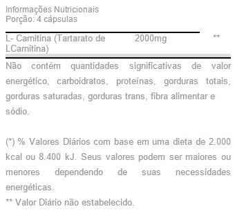 Tabela Nutricional - L-Carnitina 2000 Max Titanium