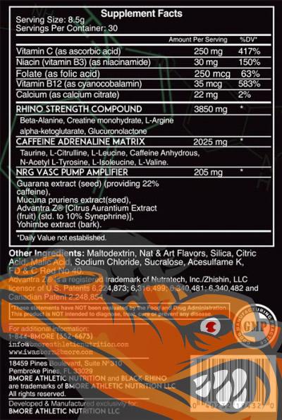 Tabela Nutricional - Black Rhino BMORE