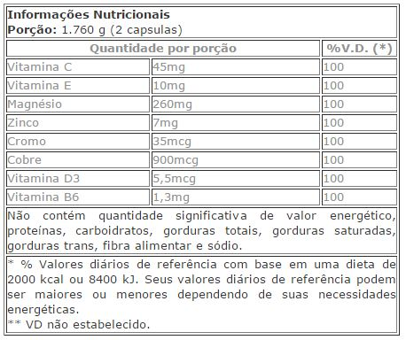Tabela Nutricional - Sleeproxin zzz 8