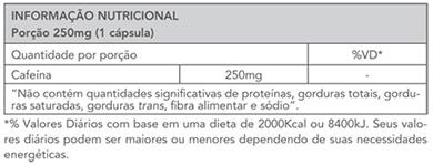 Exceed Caffeine EnergyBooster (90 cápsulas) - Advanced Nutrition -  Tabela Nutricional