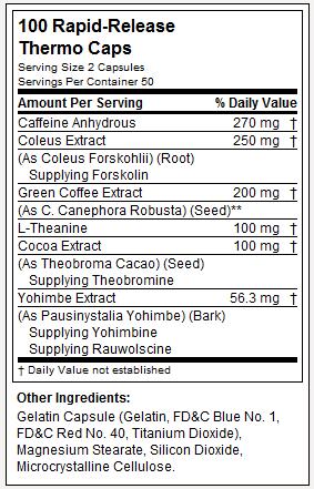 Hydroxycut Hardcore Elite - Tabela Nutricional
