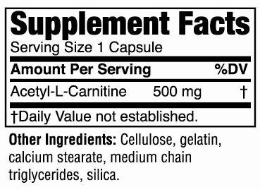 Acetyl L-Carnitina - Twinlab - Tabela Nutricional