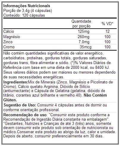 Testo Full Darkness - Tabela Nutricional