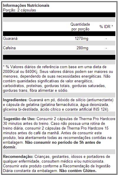 Therma Pro Hardcore - IntegralMédica - Tabela Nutricional