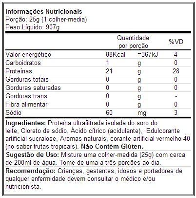 Ultra Iso Whey - Universal - Tabela Nutricional