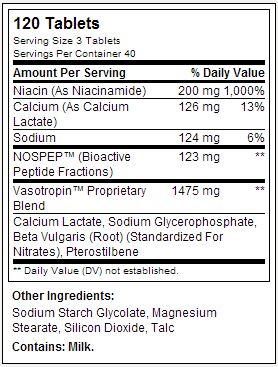 Vasotropin - Gaspari Nutrition - Tabela Nutricional