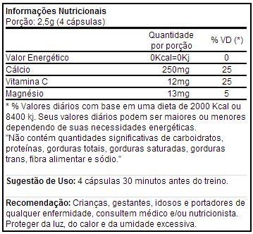 Veinox - Tabela Nutricional