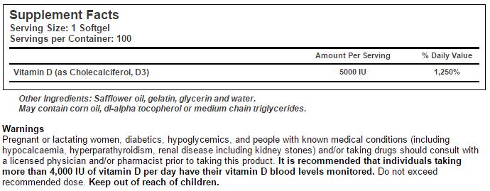 Vitamina D - Tabela Nutricional