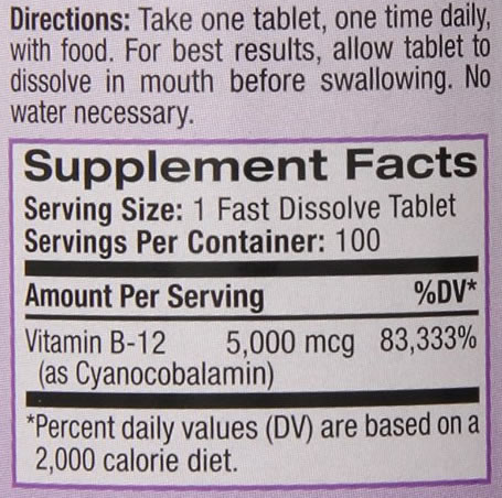 Vitamina B12 - Natrol - Tabela Nutricional