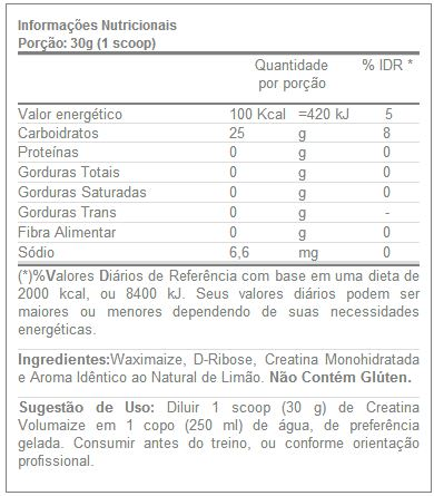 Volumaize Darkness - IntegralMedica - Tabela Nutricional