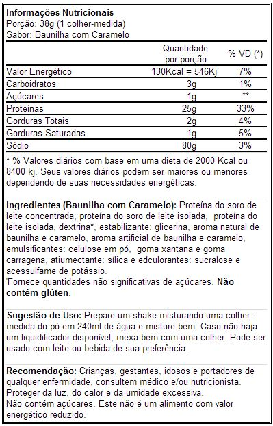 Whey-HD BPI - Tabela Nutricional - Sabor Baunilha